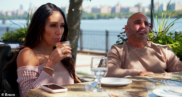 In love:The episode also showed Joe spilling the beans that his sister Teresa Giudice, 48, was in love with her new boyfriend during lunch with Melissa, Margaret and Joe Benigno