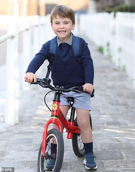 Prince Louis on his red Frog balance bike, worth £200
