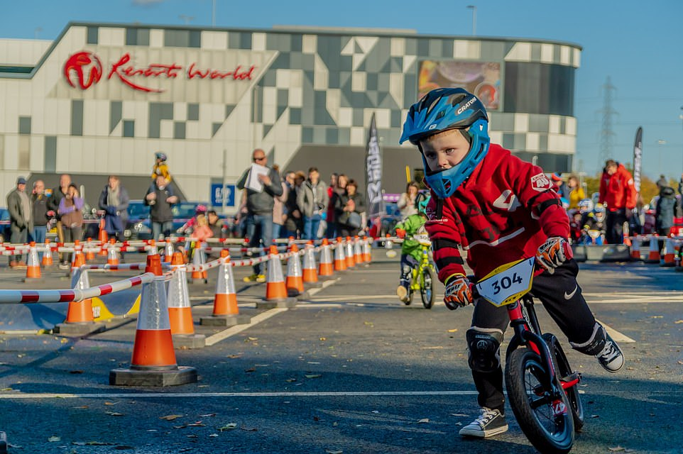 A toddler corners on a dime at the2019 Balance Bike Cup at Resorts World Birmingham