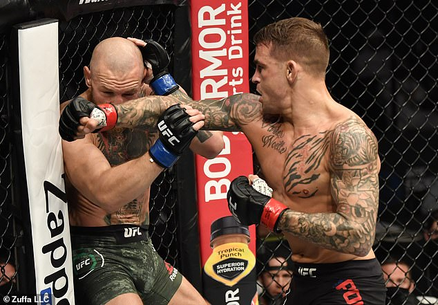 McGregor suffered defeat at the hands of Dustin Poirier (right) back in January this year