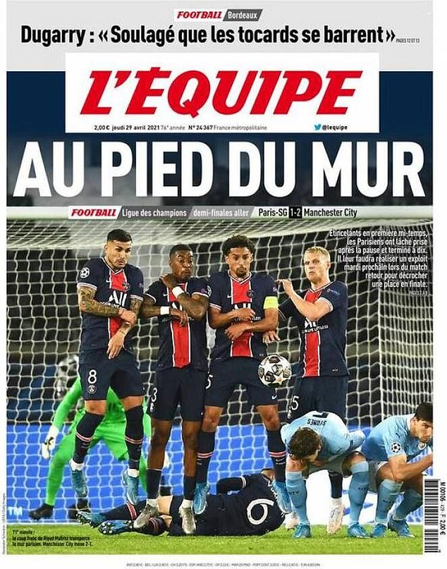 L'Equipe's front cover on Thursday focused on the PSG wall which split for City's second goal
