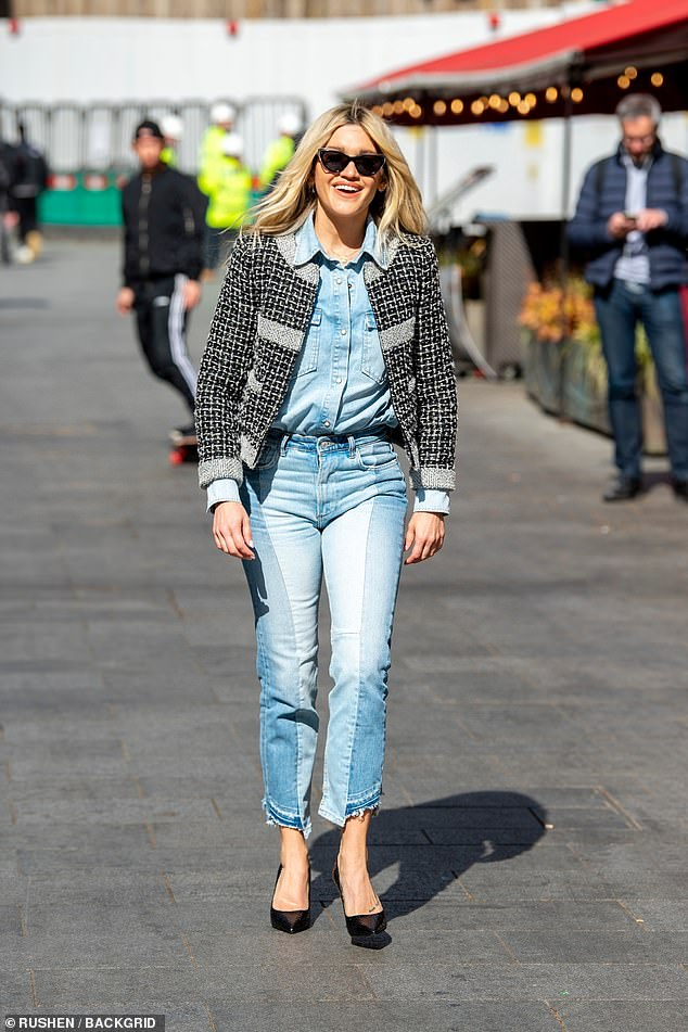 Lovely:Ashley Roberts looked casually chic as she made a stylish exit from Heart FM in central London on Thursday