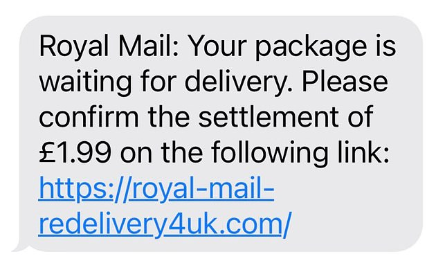 A Royal Mail text scam (one such text, pictured) asking customers to pay for packages before they are delivered has tricked thousands into handing over their bank details