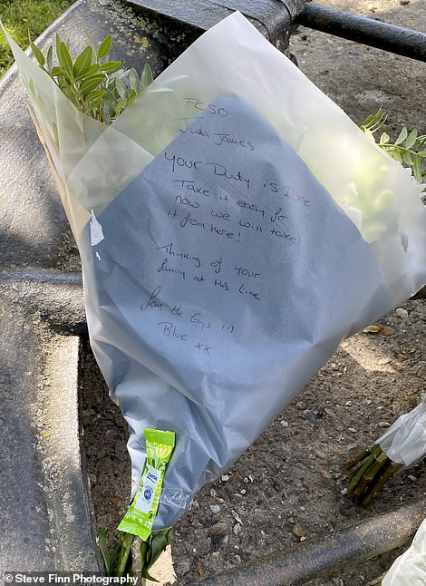 Police hunting for her killer also left flowers thanking her for her 'duty' and promising they would 'take it from here'