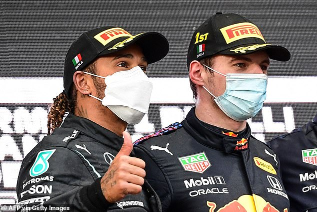Hamilton and his rival Max Verstappen (right) will once again go head-to-head on Sunday