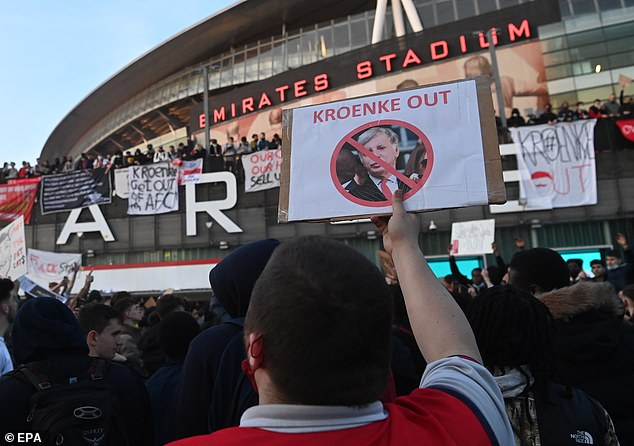 Arsenal fans protested last week against the American owner before their loss to Everton
