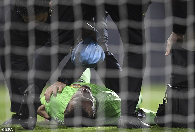 Goalkeeper Pau Lopez suffered a shoulder injury saving a Paul Pogba and could not continue