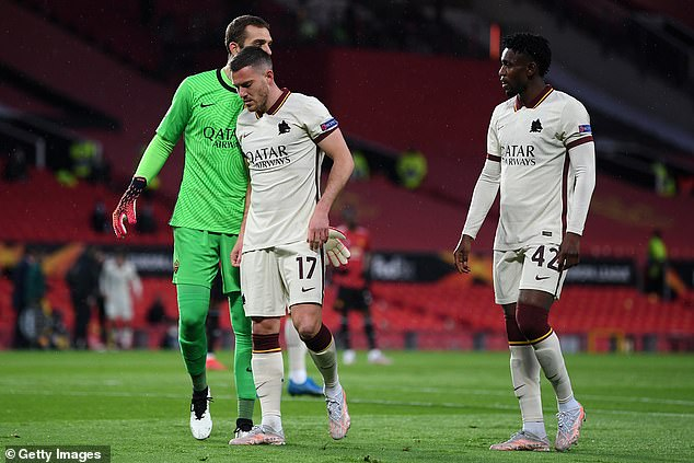 Jordan Veretout was forced off the pitch against Manchester United inside five minutes