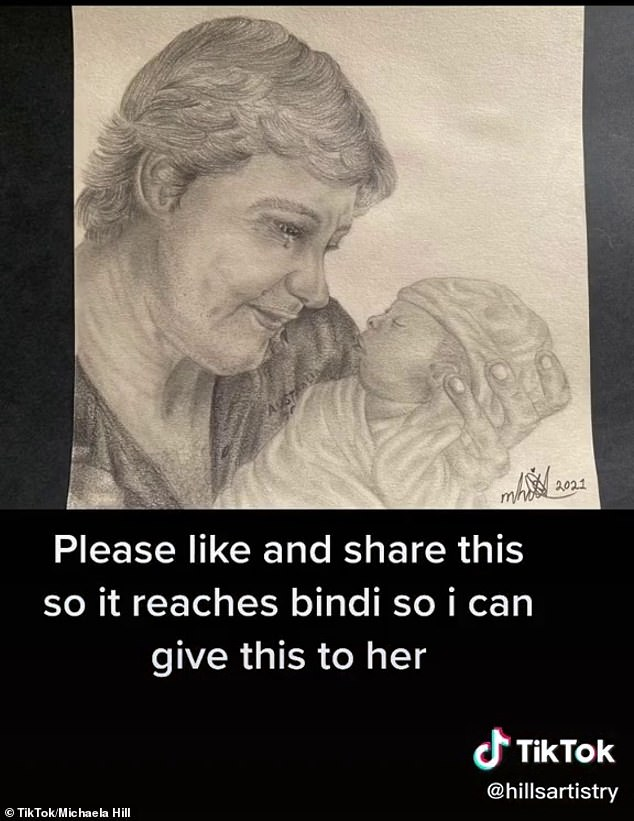 Beautiful: A fan's artwork showing late conservationist Steve Irwin meeting his granddaughter Grace Warrior for the first time is going viral on TikTok