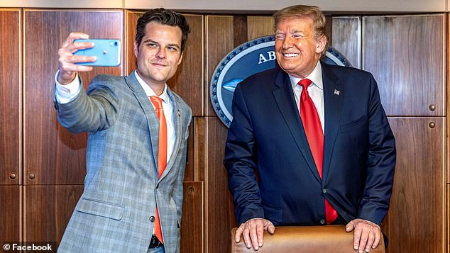 Rep. Matt Gaetz of Florida poses with President Donald Trump in photos from his official Facebook page