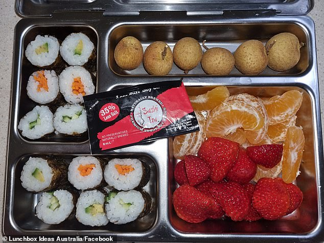 One mum chose to purchase sushi to place in the lunchboxes, and others suggested a simple sandwich