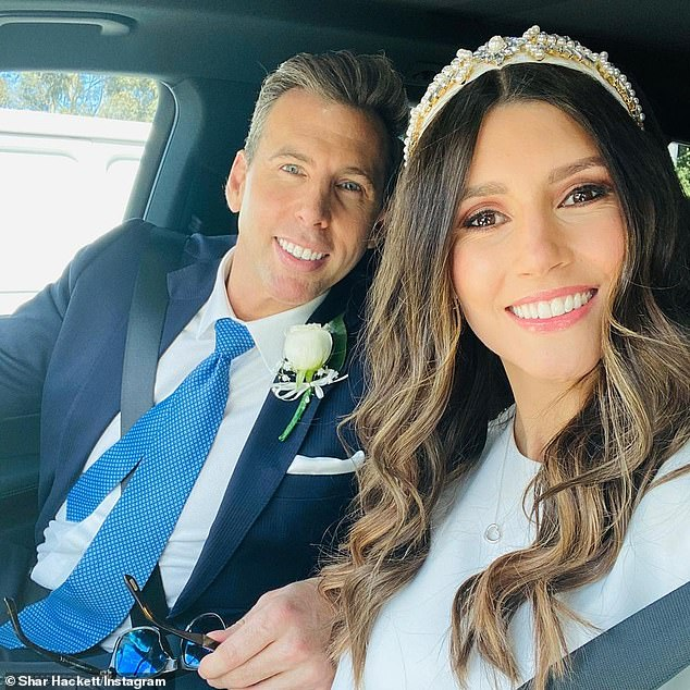 Wedding:The sale of the stunning abode comes Grant and partner Sharlene Fletcher (right) surprised their Instagram followers by marrying in a secret ceremony in Melbourne on Sunday, December 20