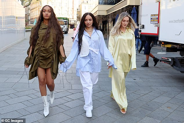 Gorgeous: Jade led the girls as she strutted in the middle of the trio