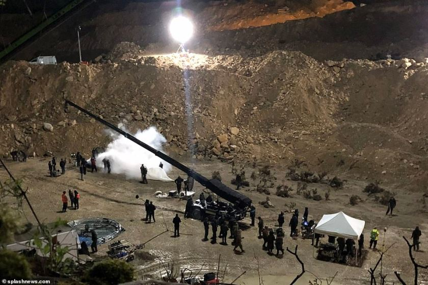 Wow! The crew for the BBC One show are shooting in a large quarry for night shoots