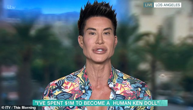 Speaking on This Morning, Justin, pictured, who's had more than 1,000 cosmetic procedures, said he views it as an 'artistry'