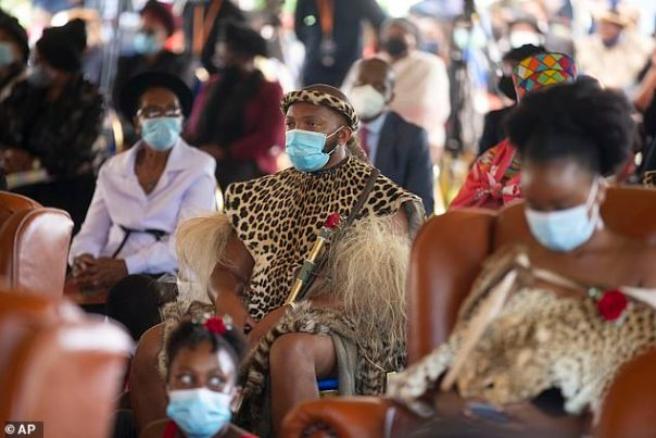 Members of the royal household attend the memorial service for Zulu King Goodwill Zwelithini in Nongoma