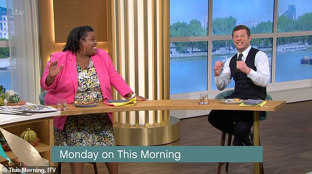 Super fan Dermot? Alison's co-host could not contain his excitement as he leant back and squealed at the exciting news that H would finally be unmasked