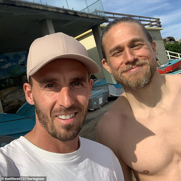 Friendly:Earlier this month, the British heartthrob smiled for a selfie with another fan - Macarthur FC striker Matthew Derbyshire (left) - in Sydney's Bondi Beach