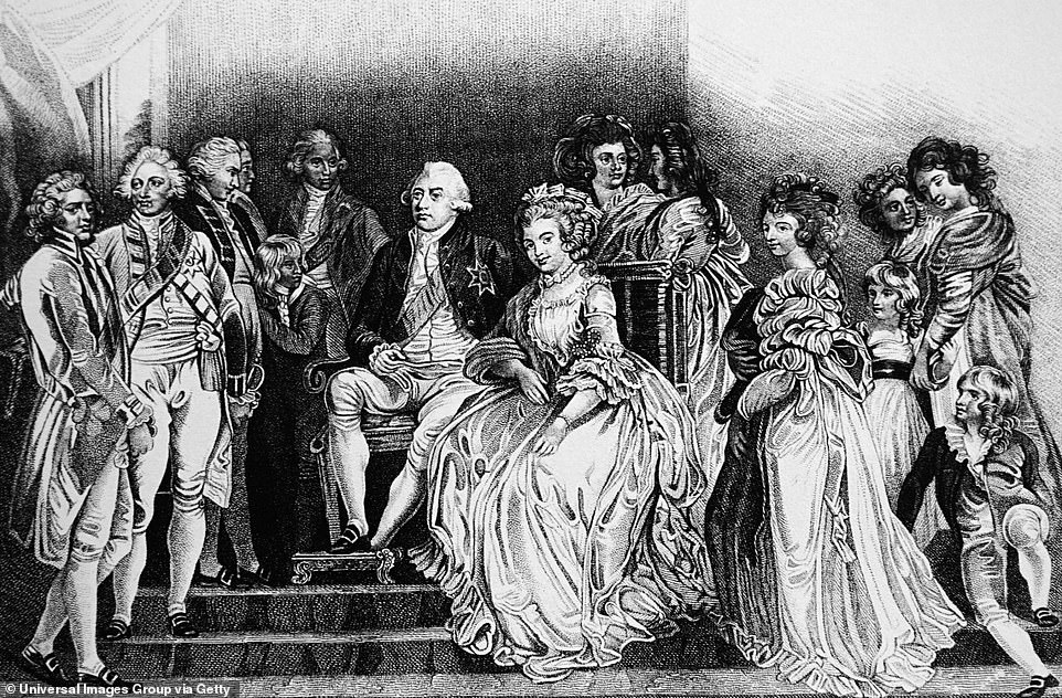 In times past (pictured): King George III and his wife, with his consort Charlotte Sophia, and some of their family