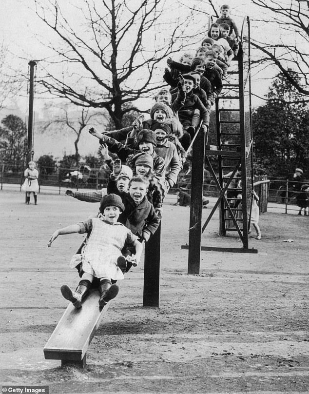 As recent at the early 1990s, children were still able to launch themselves down a metal, 30ft slide (pictured)