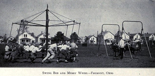 The idea of the giant strides was for young children to tightly hold onto one of the ropes which attached to the fast-rotating wheel contraption at the top of the pole (pictured)