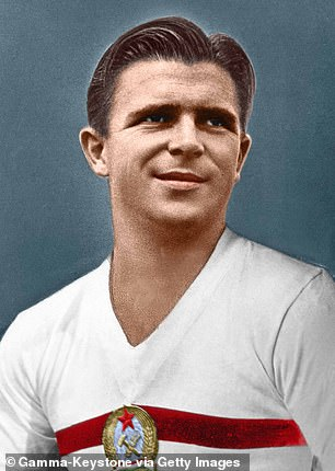 The Hungarian national football team, including its star Ferenc Puskas, above, has responded to the news by refusing to return home from Bilbao, Spain