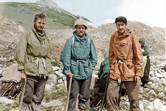 The Mail's expedition team is pictured above. The idea that an expedition be sent to the Himalayas for the sole purpose of establishing the identity of the Abominable Snowman originated with Brigadier Sir John Hunt