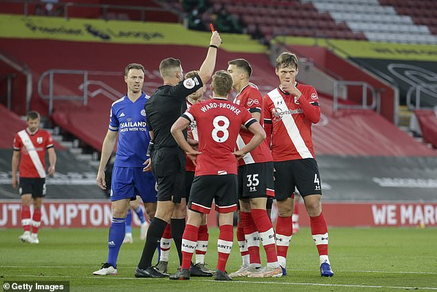 Robert Jones (left) took little time to brandish the sending off for the Southampton defender