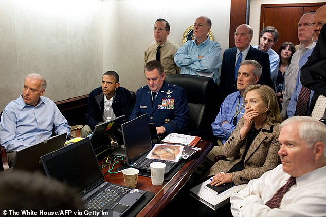 Former President Barack Obama solicited views from top advisors including former Vice President Joe Biden on the decision to go in, scene here from the situation room on May 1, 2011