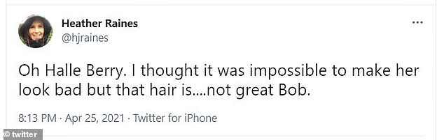 Joking around:'Oh Halle Berry. I thought it was impossible to make her look bad but that hair is....not great Bob,' added another person, making a joking Mad Men reference at the end