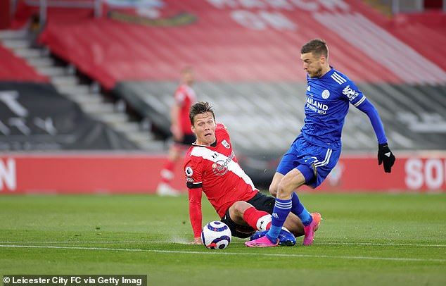 The Danish defender took a heavy touch and lunged on Jamie Vardy, but did get the ball first