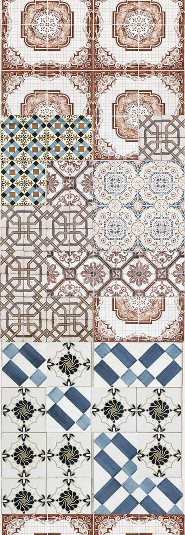 If shabby chic is for you, this design by wallpaper gurus Wall and Deco features retro tiles