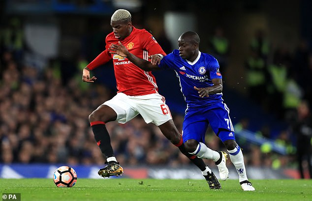 Kante (right) scored the winner when United and Chelsea met in an the FA Cup in 2017