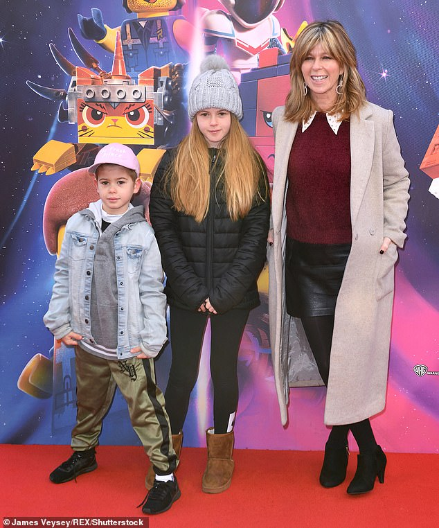Candid: Kate admitted she was concerned at one point that Derek - who recently returned home after a year in the hospital - would never remember her and their children, Darcey, 15, and Billy, 11 years old (pictured with her children in 2019)