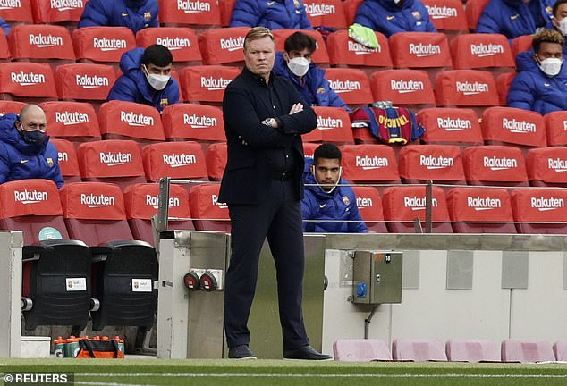 Ronald Koeman watches on as his Barcelona side lost 2-1 at home to Granada on Thursday