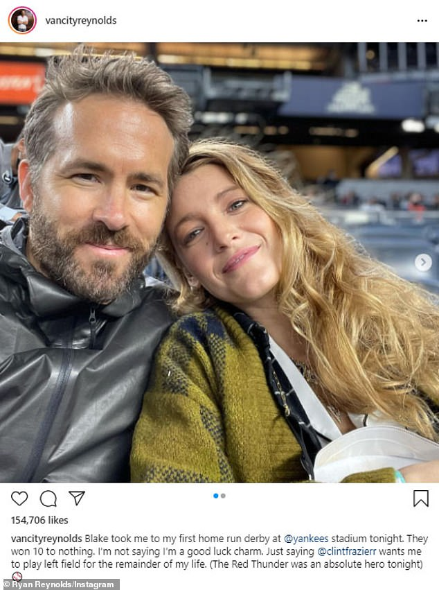 Date night:Ryan Reynolds and Blake Lively had the time of their lives attending the Yankees vs. Tigers game at Yankee Stadium on Friday night in the Bronx, New York City