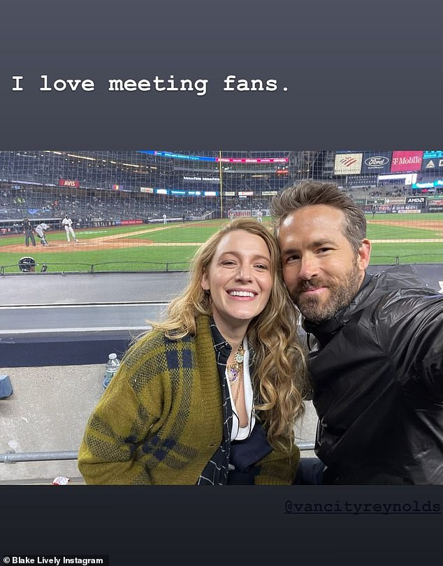 Too cute: Lively posted a similar picture with the baseball field in view behind them as they smiled, with the cheeky caption: 'I love meeting fans'