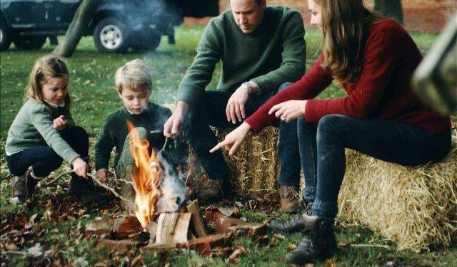 In the video, Charlotte was seen playing and toasting a marshmallow on a camp fire. The Duke and Duchess of Cambridge wrote: 'We are enormously grateful for the 10 years of support we have received in our lives as a family'
