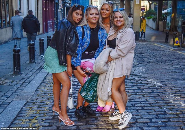 A group of girls pose together for a photo in Newcastle as they enjoy nightlife beginning to re-emerge after lockdown