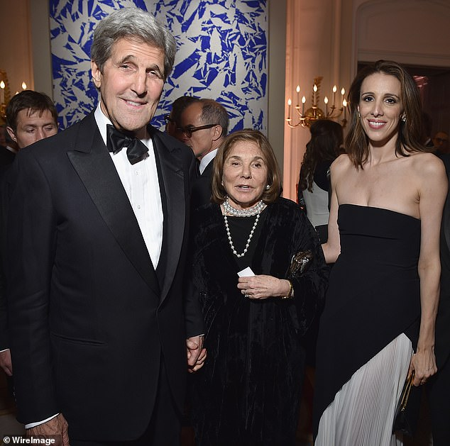 Kerry's vast stock portfolio is also enhanced through a trust fund he holds with his wife Teresa Heinz Kerry, 82, heiress to the Heinz food company, pictured center. Daughter, Alexandra Kerry, 47 is pictured right, in 2016