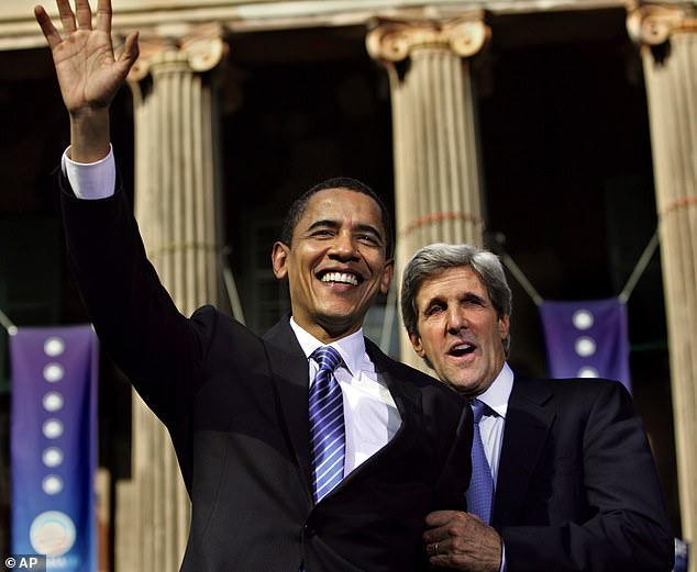 Kerry, who was a senator for Massachusetts for 28 years from 1985 to 2013 became Secretary of State under the Obama Administration from 2013 to 2017. Both are pictured here in 2008