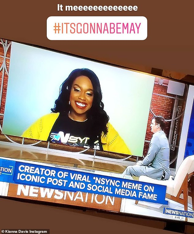 Drawing attention: Davis also shared a clip from her appearance on a newscast, where she discussed the lasting popularity nine-year-old viral meme