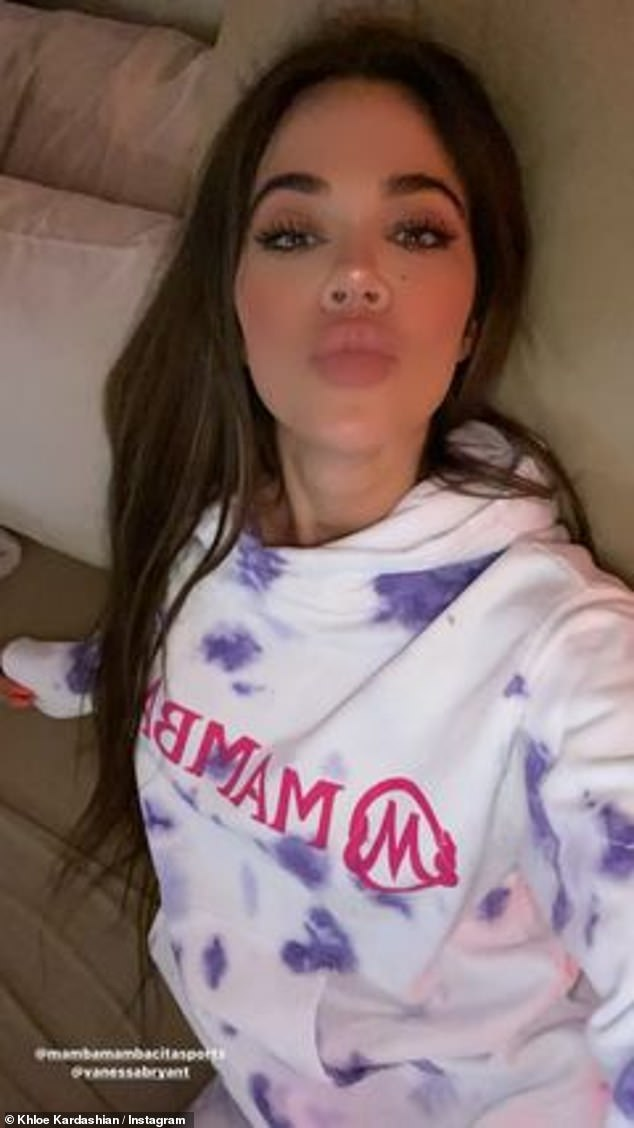 Paying tribute: Khloe Kardashian, 36, lent her famous name and face to the launch of Vanessa Bryant's MambacitaX Dannijo charity clothing line on Instagram on Saturday
