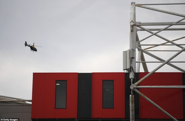 A police helicopter was deployed to keep a constant watch over the stadium after it was announced the game is postponed