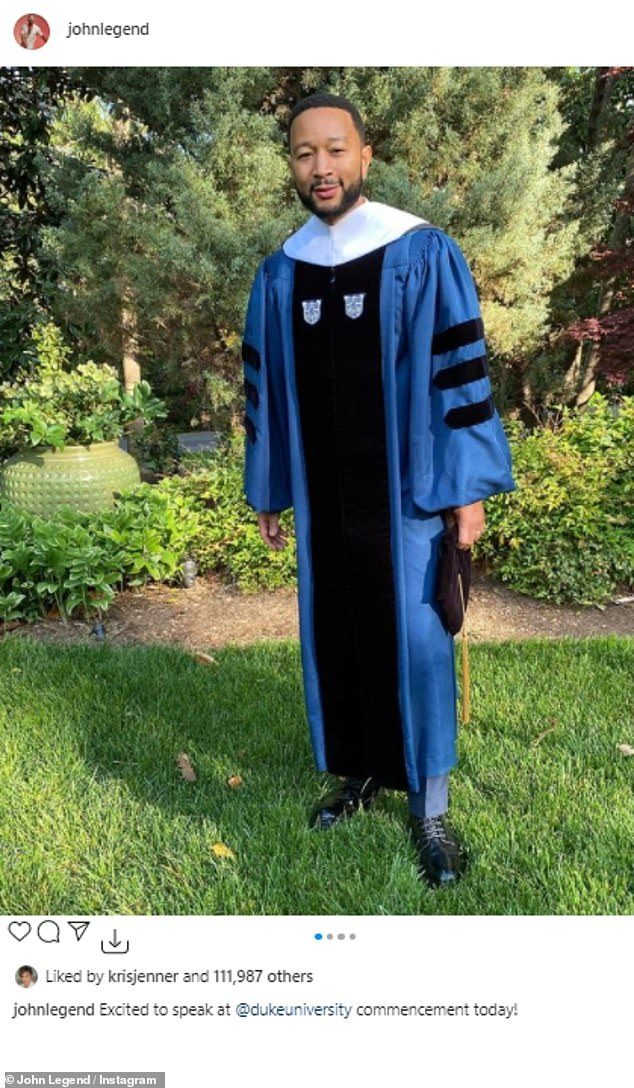Graduation day: EGOT winner posed in a blue dress at the ceremony