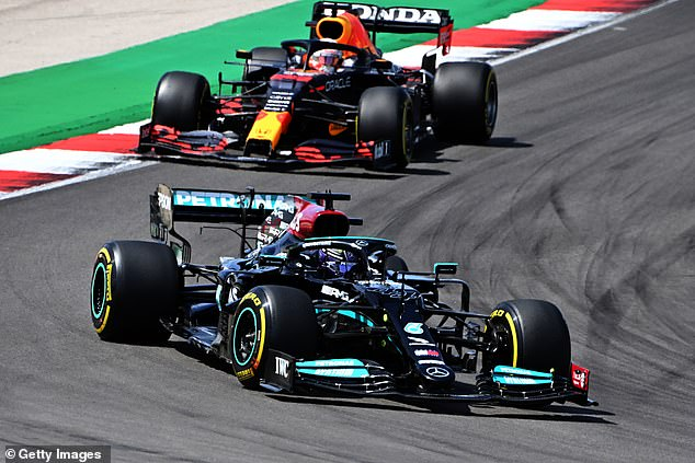 The Red Bull star (back) was beaten by title rival Lewis Hamilton on Sunday at Portimao