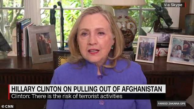Hillary Clinton warned the US will face 'huge consequences' over President Joe Biden's decision to withdraw troops from Afghanistan in an interview with CNN on Sunday (pictured)