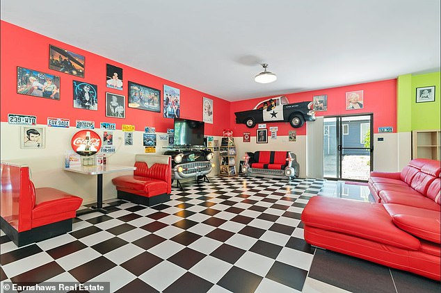 This property in Glen Forrest, 30 minutes south of Perth in Western Australia, includes a 1950s diner-style living room (pictured)