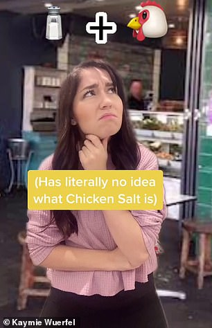 When ordering fries, she was left scratching her head when the waitress asked whether she wanted chicken salt, one of Australia's classic condiments that's commonly used for seasoning hot chips