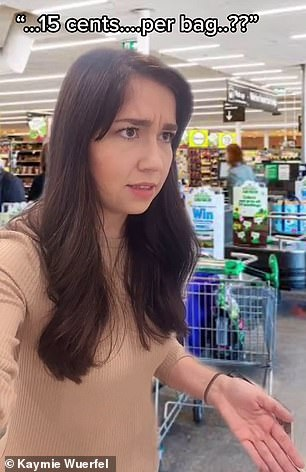 During her first visit to a supermarket, Kaymie said she was surprised when a checkout employee wanted to charge her 15 cents for a grocery bag